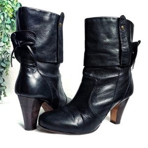 Dolce Vita leather blk Wood ankle heel booties 11